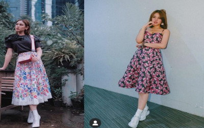 Vanesha Prescilla Cantik Banget Pakai Outfit Corak Bunga