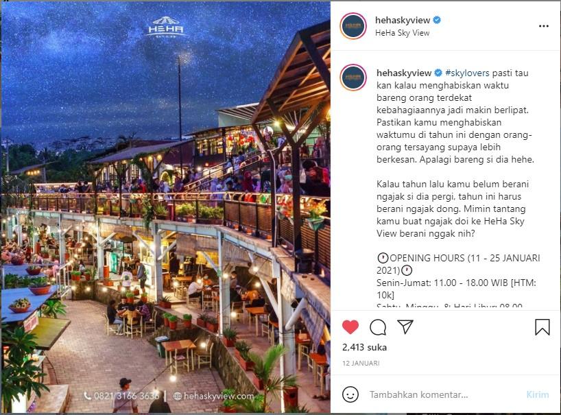 HeHa Sky View merupakan tempat wisata baru di Jogja yang hits di kalangan milenial. (Foto: Instagram resmi HeHa Sky View)