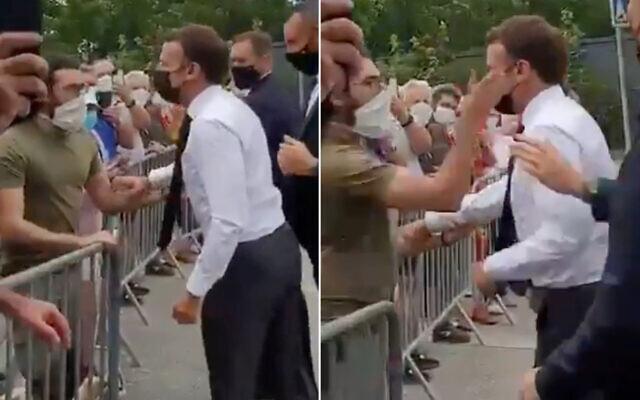 Detik-detik Presiden Prancis Emmanuel Macron ditampar Pria tak dikenal. (Foto: tsngkspsn layar Twitter/@NewsUpdateIND)