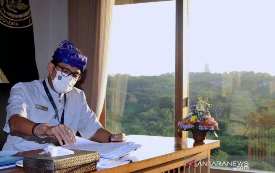Menteri Pariwisata dan Ekonomi Kreatif (Menparekraf) Sandiaga Salahuddin Uno. Foto: ANTARA FOTO/Fikri Yusuf/aww.