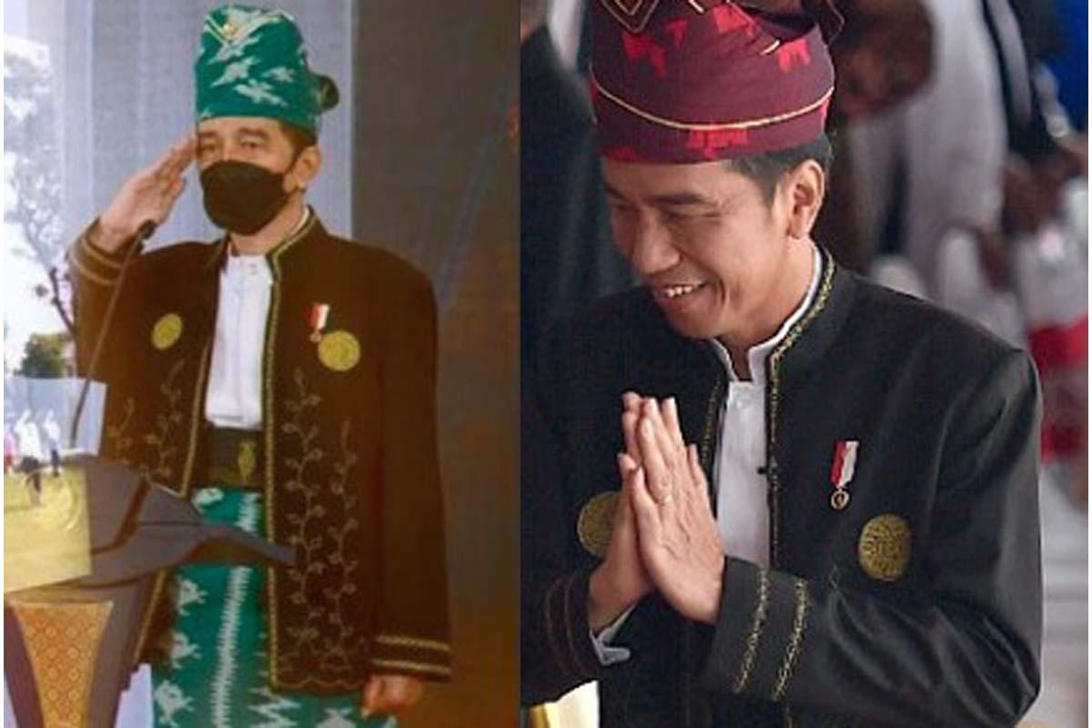 Presiden Jokowi mengenakan pakaian adat Tanah Bumbu di upacara peringatan Hari Pancasila 2021, dan saat upacara peringatan detik-detik Proklamasi Kemerdekaan RI di Istana Merdeka 2017 (foto: IG Jokowi dan Antara)