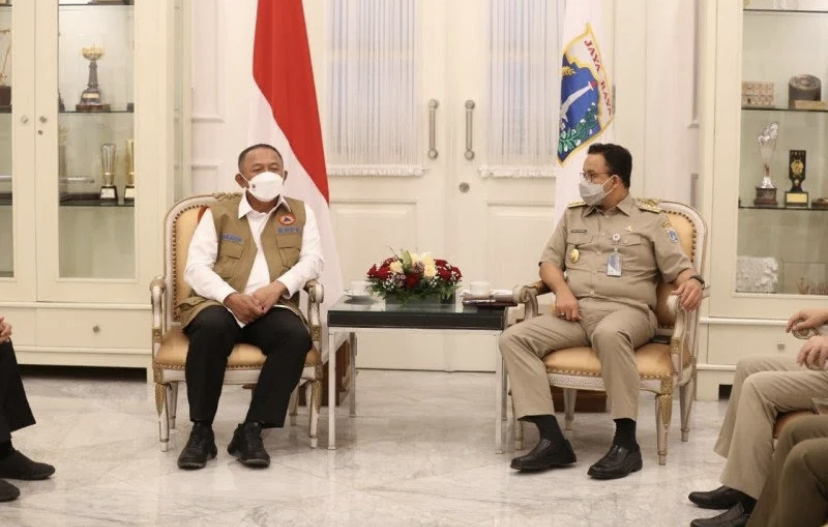 Pertemuan Kepala BNPB Ganip Warsito bersama Gubernur DKI Jakarta Anies Baswedan. Foto: Antara.