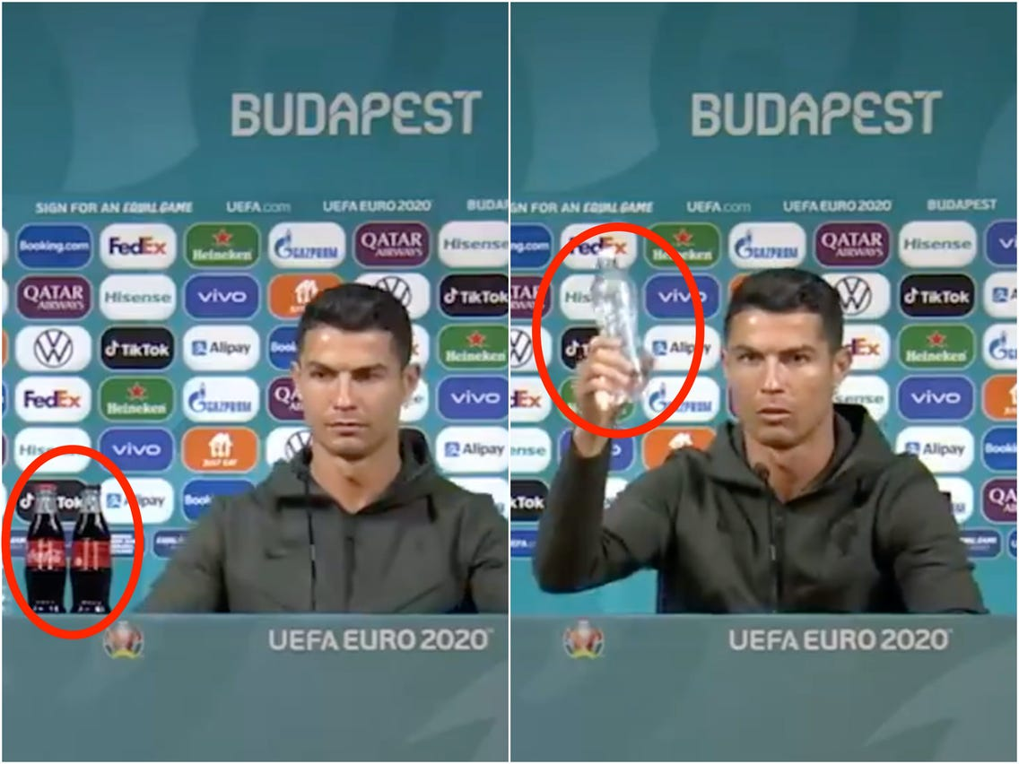 Megabintang Timnas Portugal, Cristiano Ronaldo, membuat saham Coca Cola anjlok karena aksinya saat konferensi pers di Piala Eropa 2020. Foto: Euro 2020.