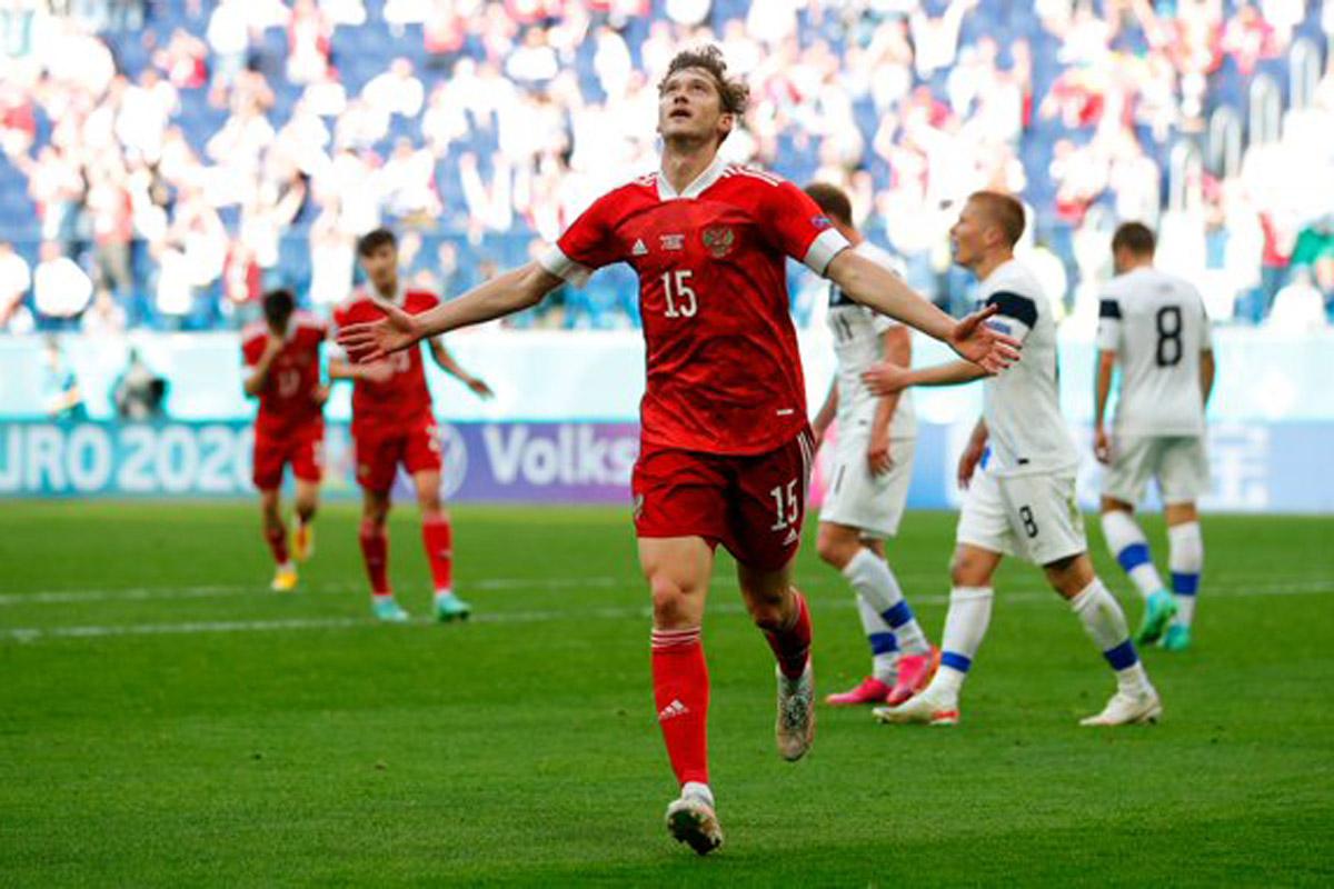 Timnas Rusia mengalahkan Finlandia pada Piala Eropa 2020. Foto: Twitter/TeamRusia