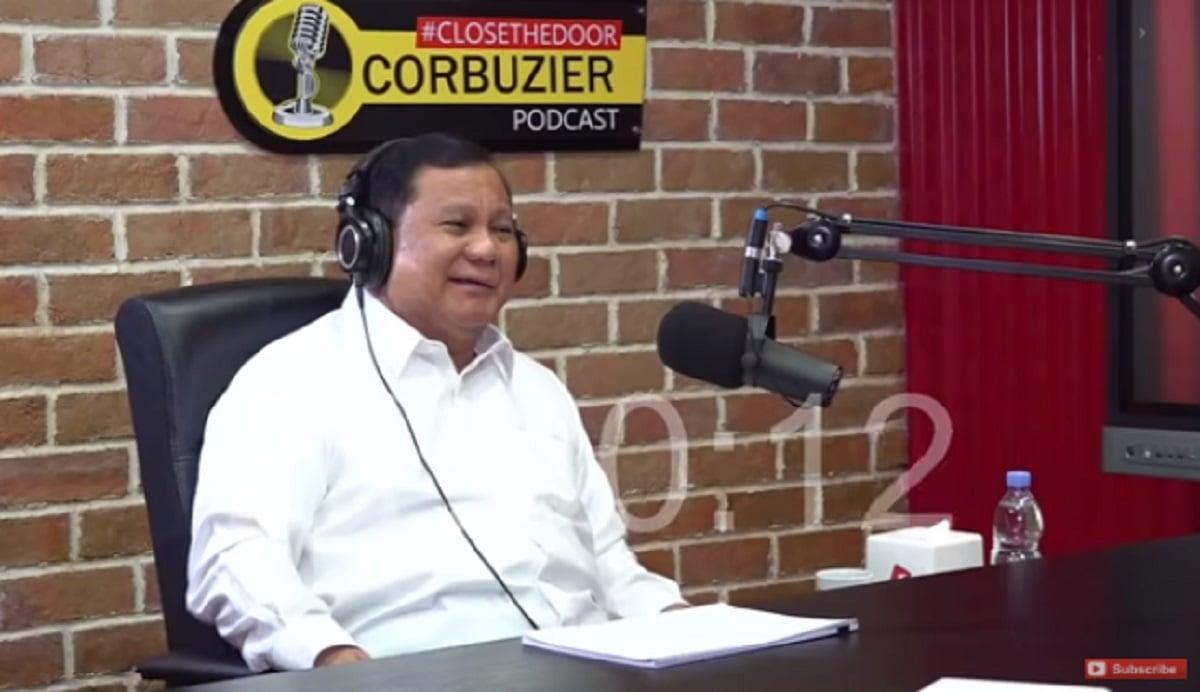 Menhan Prabowo Subianto (foto: YouTube Deddy Corbuzier)