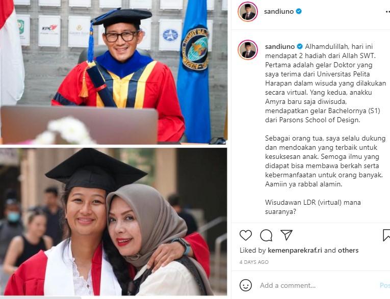 Putri Sandiaga Uno Raih Sarjana di AS dengan Nilai Cemerlang