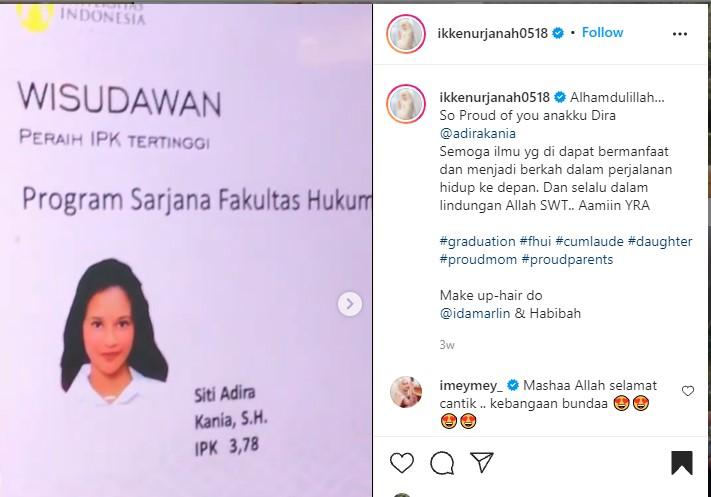Putri Ikke Nurjanah Cantik Banget, Lulus Cum Laude Bergelar SH
