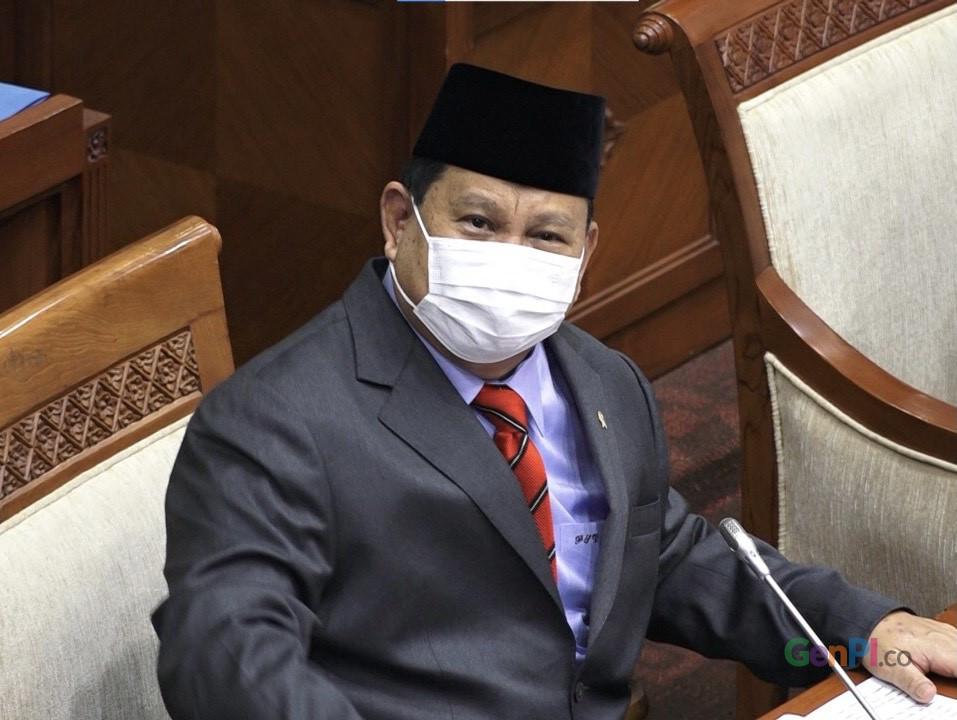 Menteri Pertahanan (Menhan) Prabowo Subianto saat menghadiri rapat bersama Komisi I DPR RI, Rabu (2/6/2021).