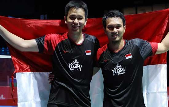 Ganda putra Indonesia Mohammad Ahsan/Hendra Setiawan berhasil melaju ke babak final China Open 2019. Foto: PBSI
