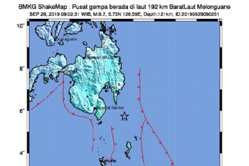 Titik gempa bumi di Kabupaten Talaud. (Sumber foto: ANTARA/HO-BMKG)