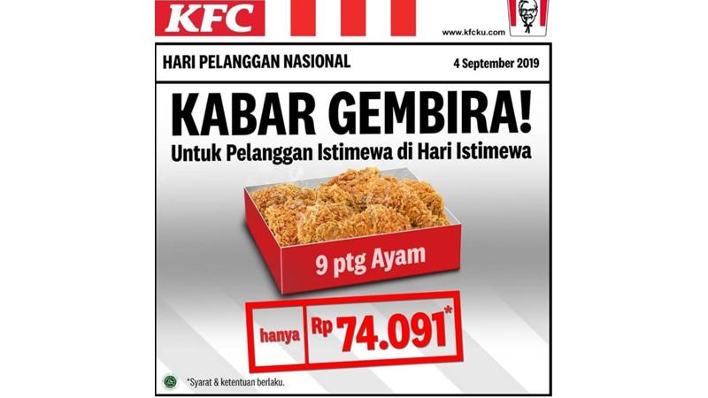 Promo KFC di Hari Pelanggan, 4 September 2019 (grafis: IG @kfcindonesia)