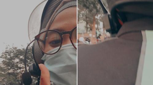 Netizen membagikan pengalamannya naik ojek yang dengan helm keren yang dilengkapi interkom. (Foto: Twitter/@buzzlightyear)