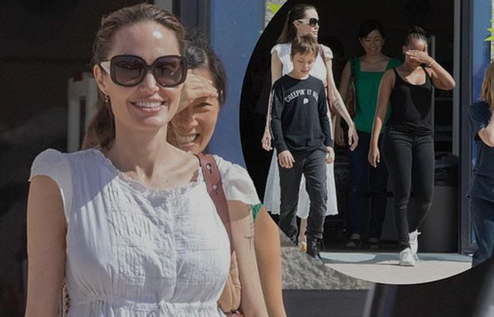 Angelina Jolie tampil sederhana saat belanja barang diskonan di sela syiting The eternals. (Foto: Mirror.uk)