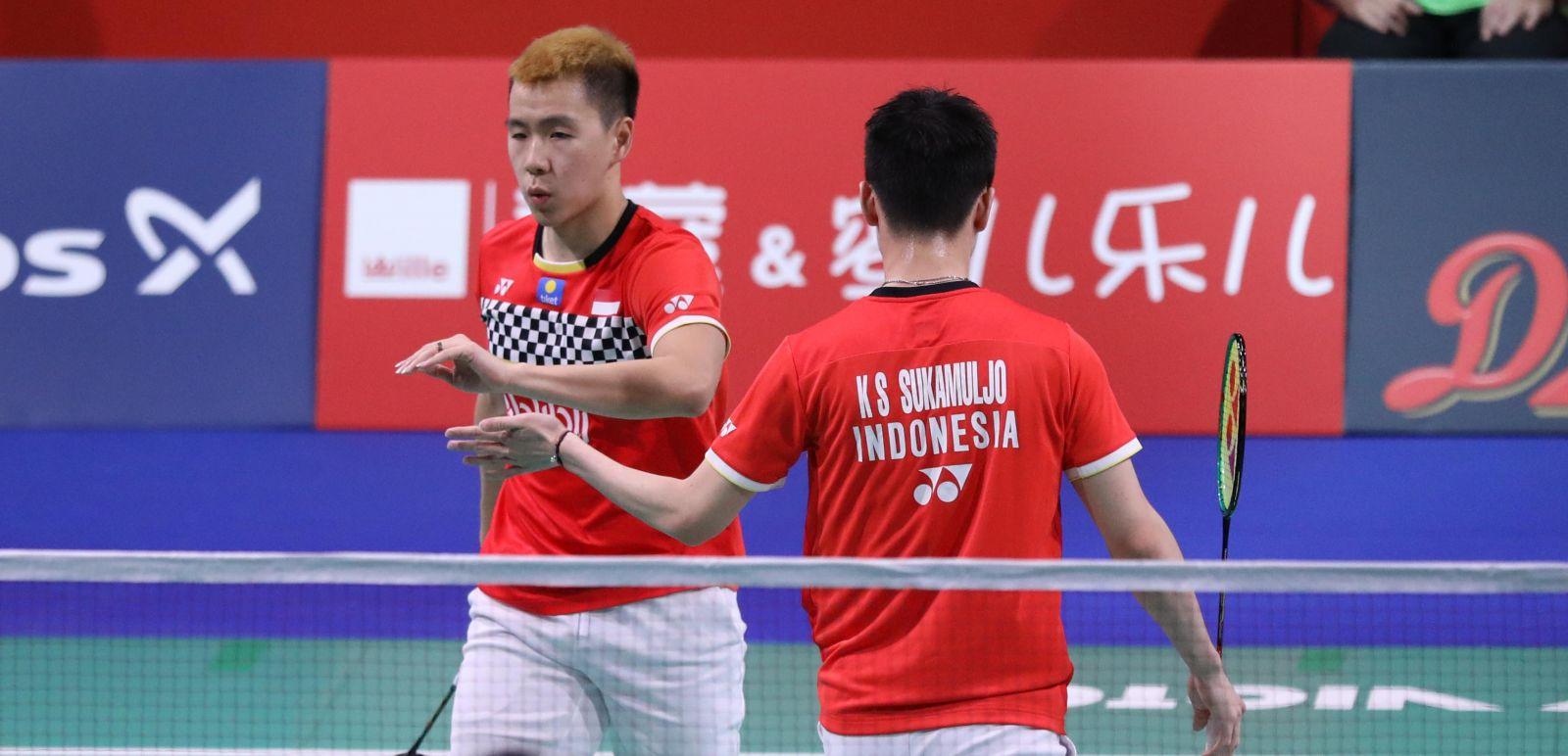 Ganda putra Indonesia Kevin Sanjaya Sukamuljo/Marcus Fernaldi Gideon alias Minions berpeluang mengukir rekor hebat pada Fuzhou China Open 2019. Foto: PBSI