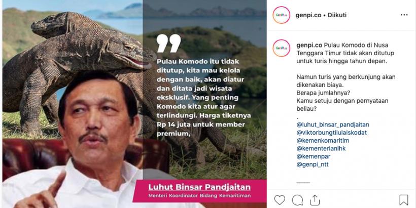 Menurut, Dispar Mabar, penetapan TN Komdo sebagai destinasi premium masih sekadar konsep. (Foto: Instagram/@genpi.co)