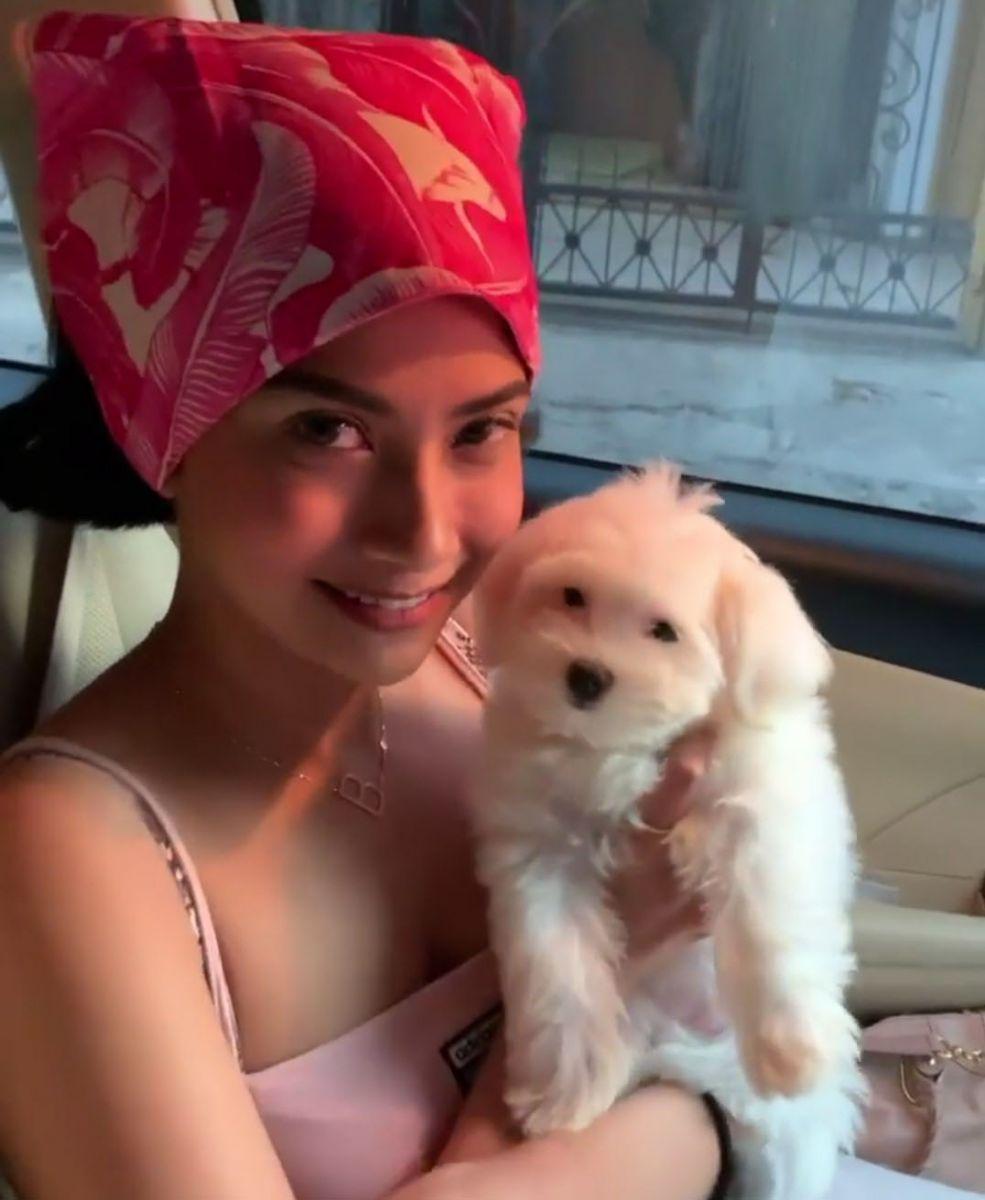 Aktris cantik Vanessa Angel memakai tanktop sembari memeluk anjing. Foto: Instagram/Vanessaangelofficial
