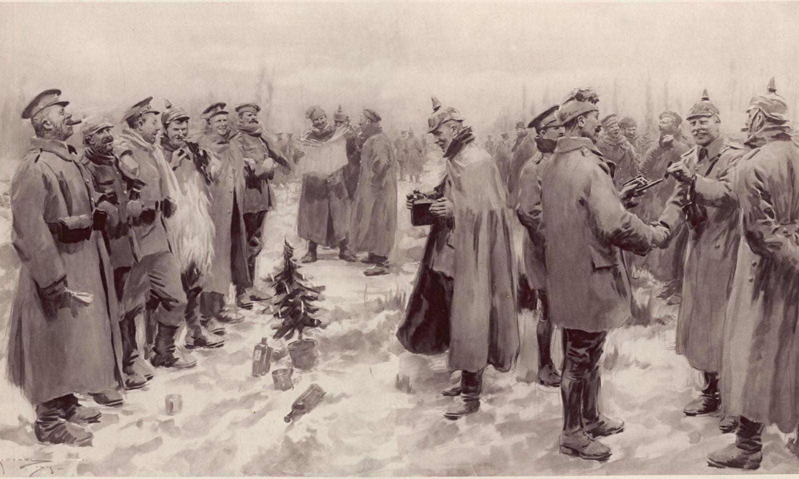 Ilustrasi London Newa yang menggambarkan tentara jerman dan Inggris yang saling berjabat tangan di dalam gencatan senjata dadakan pada hari Natal 1914. (Foto: Wikipedia)