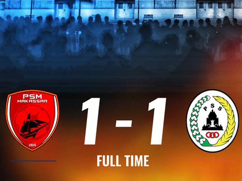 Tidak ada pemenang dalam laga PSM Makassar vs PSS Sleman pada pekan ke-33 Liga 1 2019. Foto: Twitter/Liga1match