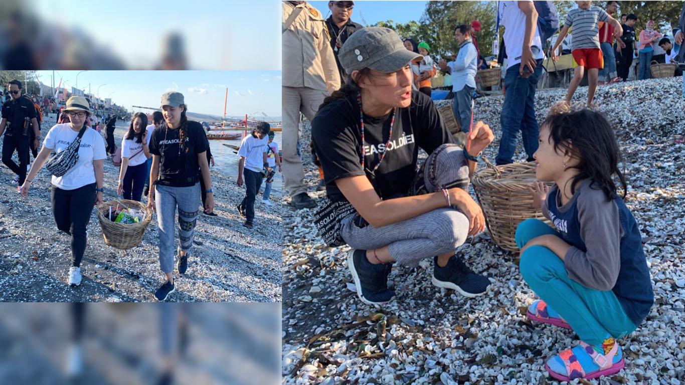 Kegiatan Nadine bersama Sea Soldier untuk bersih-bersih sampah di pantai (Foto: Instagram/@nadinelist)