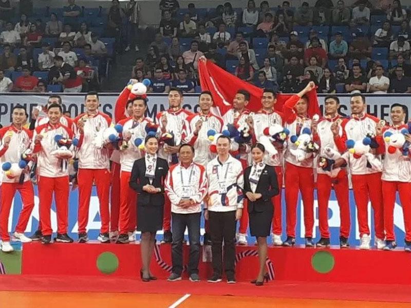 Timnas voli putra Indonesia berhasil mewujudkan ambisi meraih emas pada SEA Games 2019. Foto: Antara