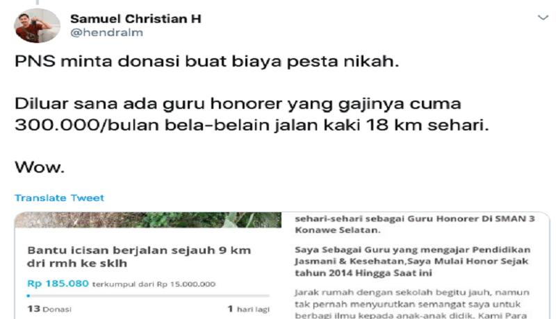 Viral cuitan netizen kritik penggalangan dana untuk biaya nikah (Twitter)