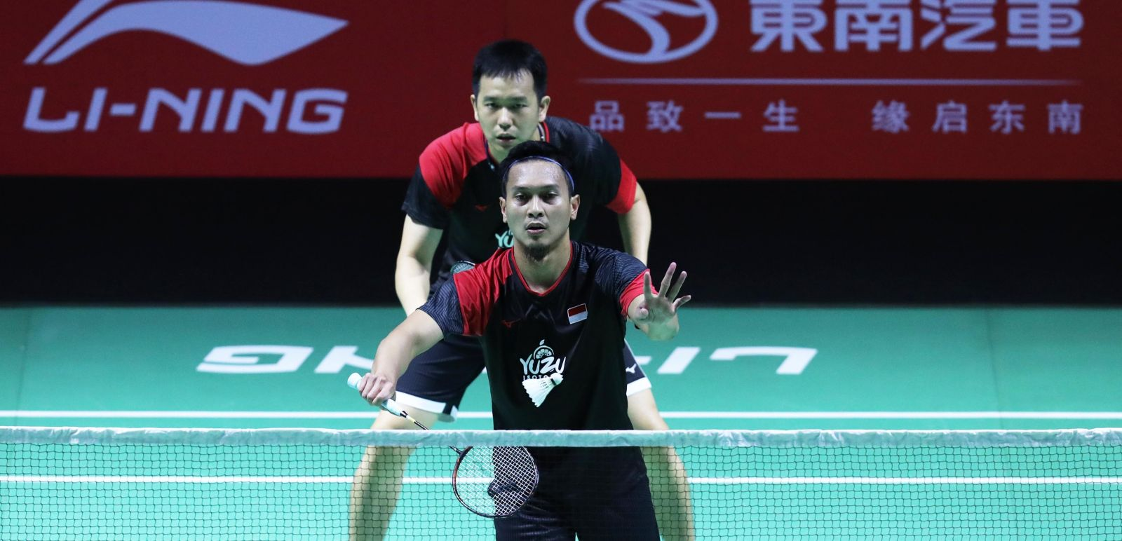 Ganda putra Indonesia Mohammad Ahsan/Hendra Setiawan harus bersusah payah merebut tiket perempat final Fuzhou China Open 2019. Foto: PBSI