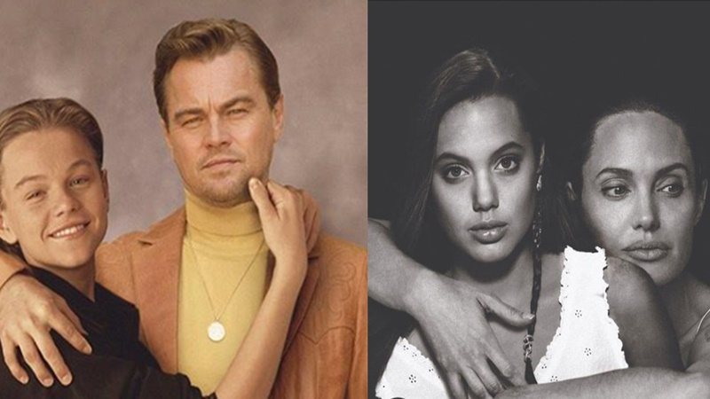 Leonardo DiCaprio dan Angelina Jolie bersanding bersama dirinya di masa muda (foto: IG @ardgelick)