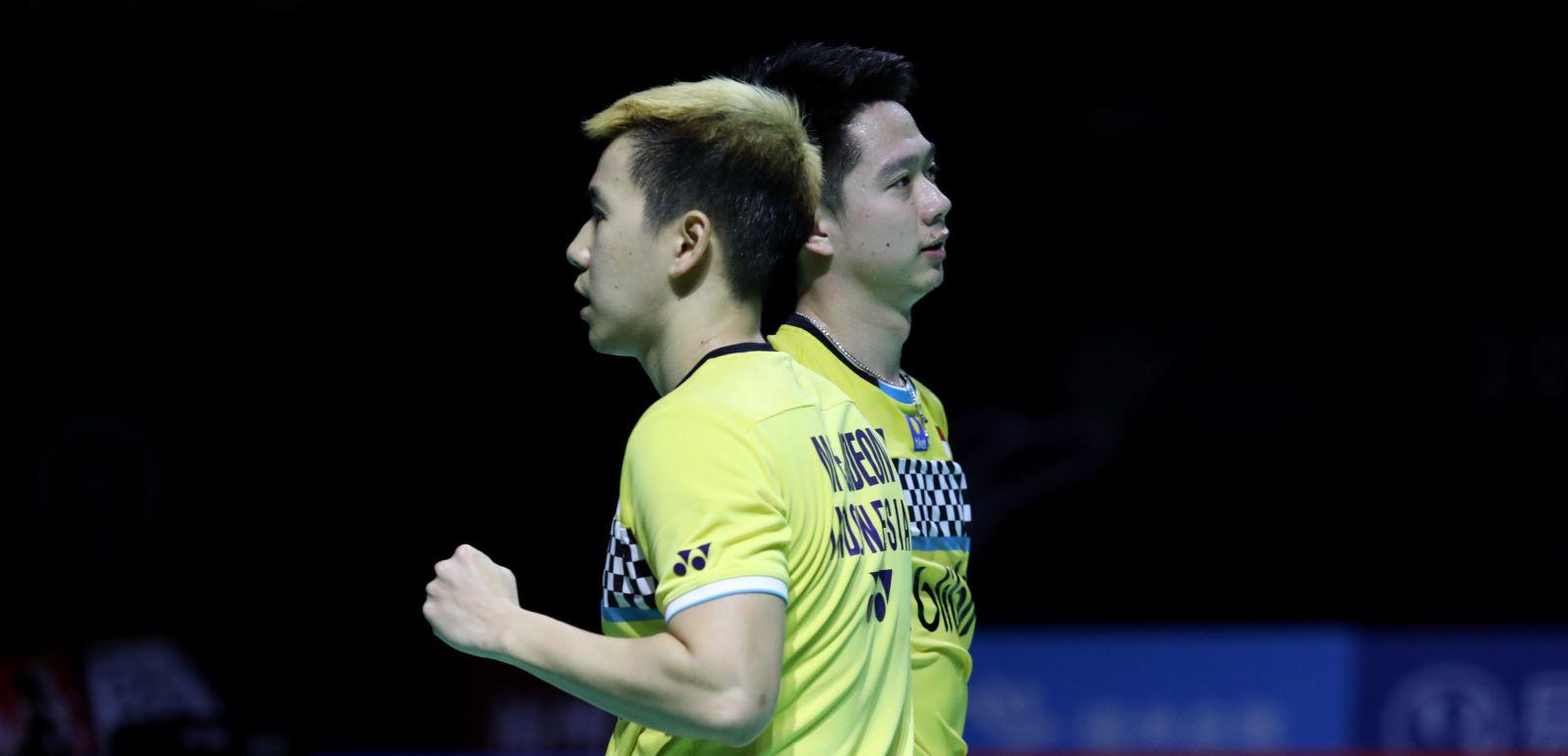 Ganda putra Indonesia Marcus Fernaldi Gideon/Kevin Sanjaya Sukamuljo alias Minions harus melakoni tiga gim pada babak kedua Hong Kong Open 2019. Foto: PBSI