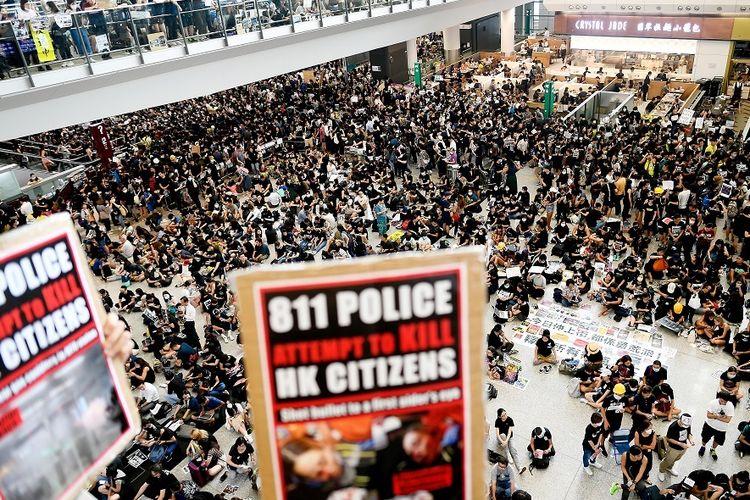 Demo di Hong Kong membuat WNI tak bisa kembali ke tanah air. (Foto: Kompas.com)