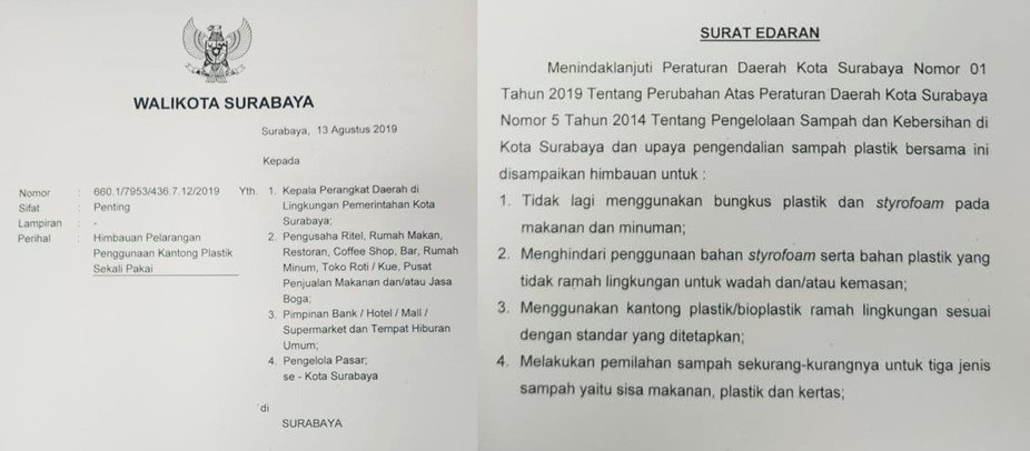 Surat edaran yang dikeluarkan Walikota Tri RIsmaharini dalam rangka mendukung program Surabaya Zero Waste.