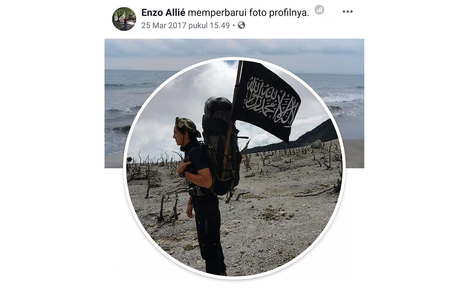 Foto profil Enzo Allie di Facebook. Sayang, akun itu tak bisa ditelusuri lantaran sudah dihapus. (Foto: Facebook Salman Faris)