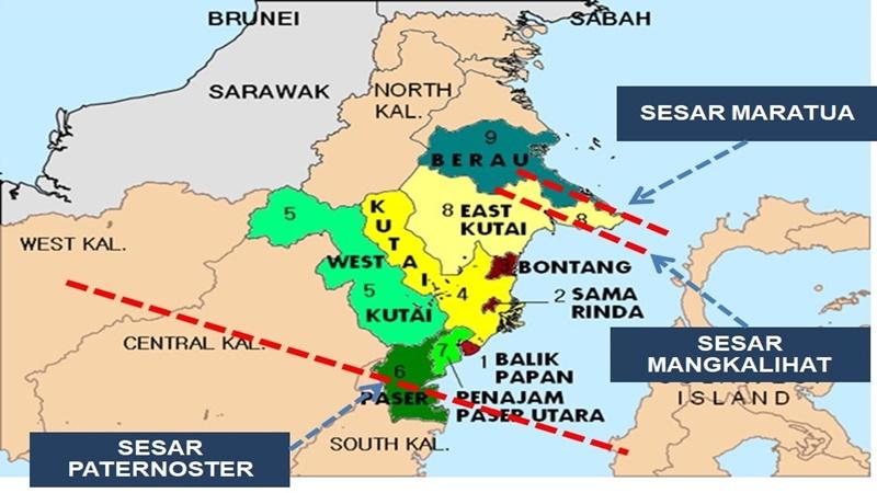 BMKG mengungkapkan ada 3 sesar di Kalimantan (sumber : Twitter @humasBMKG)