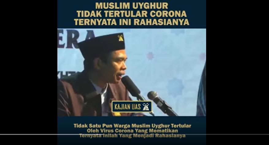 Tangkapan layar ceramah UAS soal virus Corona. (Foto: Youtube/Haji News TV)