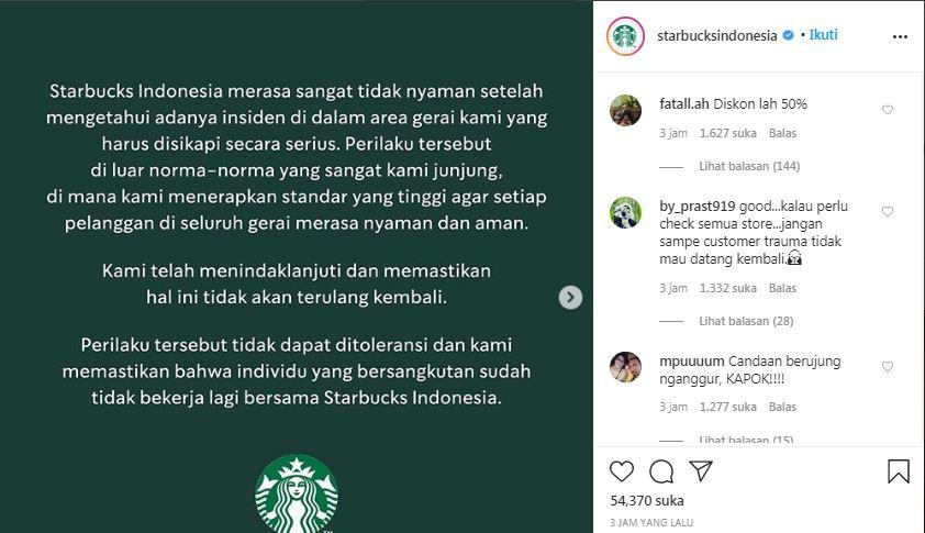 tangkapan layar unggahan Starbucks di Instagram. (Foto: Instagram/@starbucksindonesia)