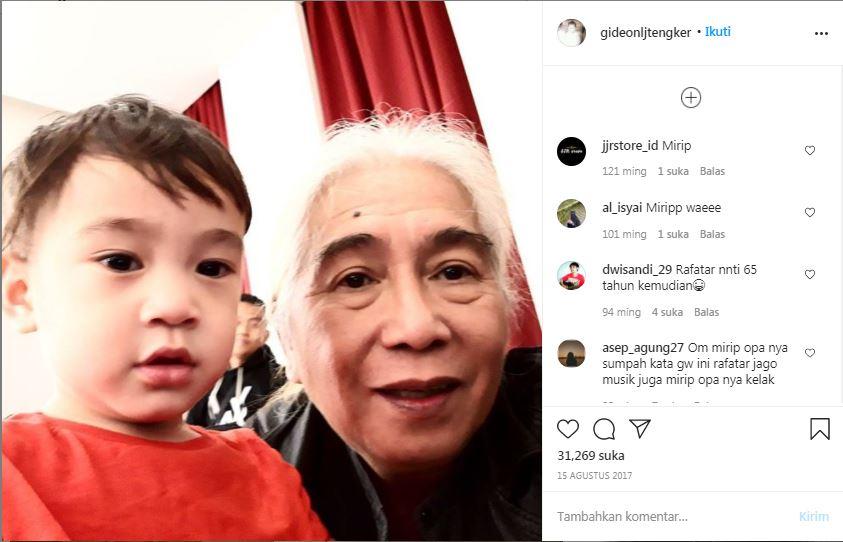Gideon L J Tengker bersama cucunya Rafathar. (Foto: Instagram/@gideonljtengker)