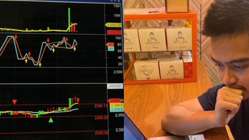 Kaesang Pangarep memprediksi harga saham ANTM (foto: SC Twitter @oscarchrstt dan IG @kaesangp)