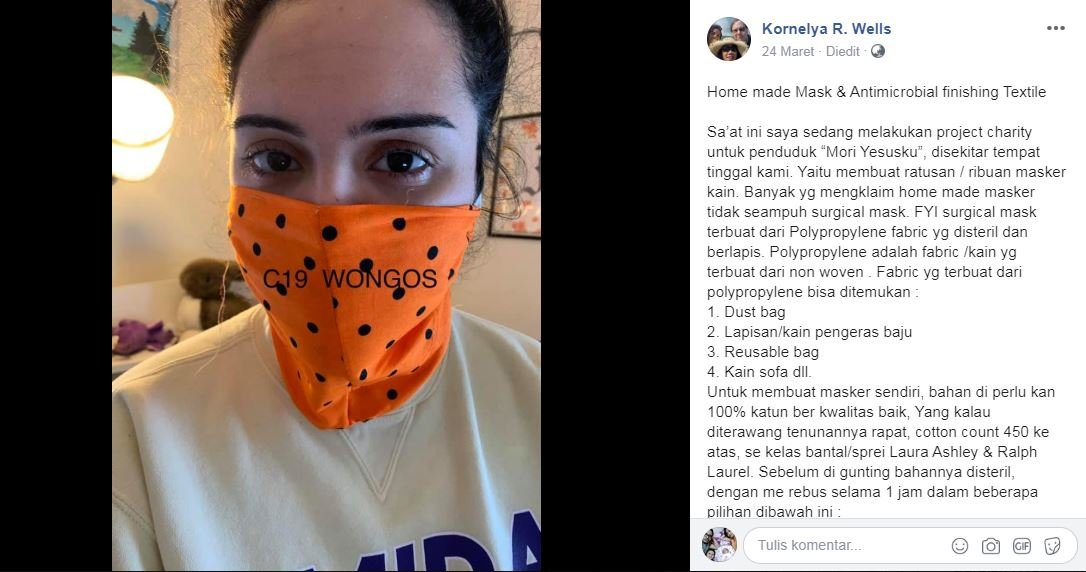Tangkal Corona, Netizen ini Bagi Cara Bikin Masker Antimicrobial
