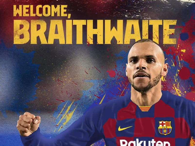 Barcelona resmi mengontrak penyerang Leganes Martin Braithwaite dengan kontrak berdurasi 4,5 tahun. Foto: Barcelona