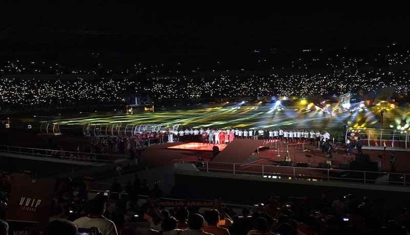 Launching tim dan jersey Persija Jakarta megah di Stadion Utama Gelora Bung Karno, Jakarta. Foto: GenPI.co