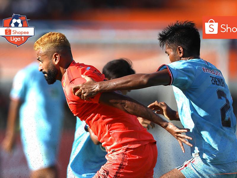 Borneo FC mengalahkan Persela Lamongan pada pekan ketiga Liga 1 2020 dengan skor 2-1. Foto: Twitter/Liga1Match