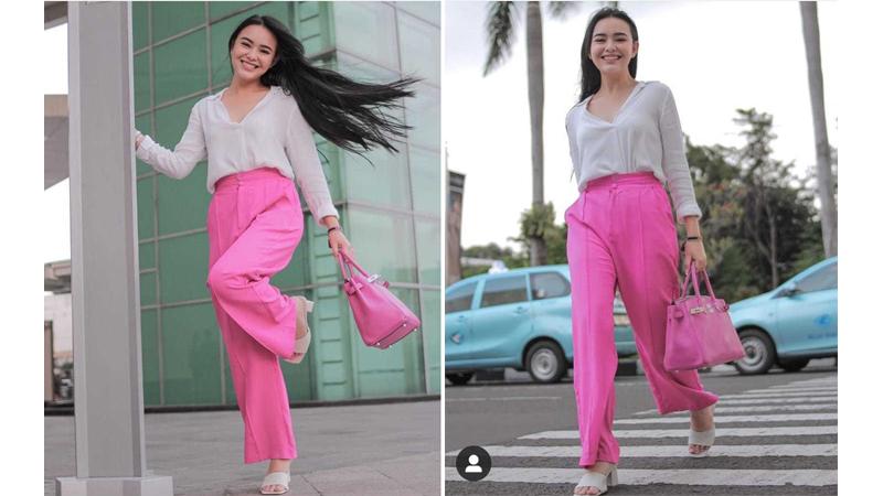 Amanda Manopo tampil dengan outfit pink dan putih (foto: SC IG @amandamanopo)