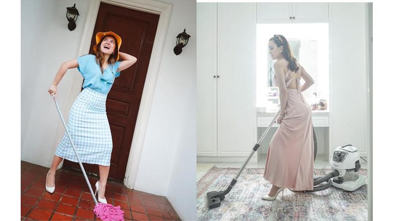 Outfit Kece Seleb saat Bersihkan Rumah