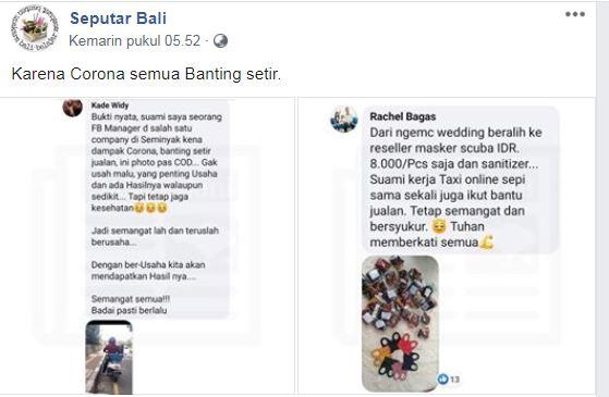 Tangkapan layar unggahan Grup Seputar Bali. (Foto: Faceboook/Grup Seputar Bali)