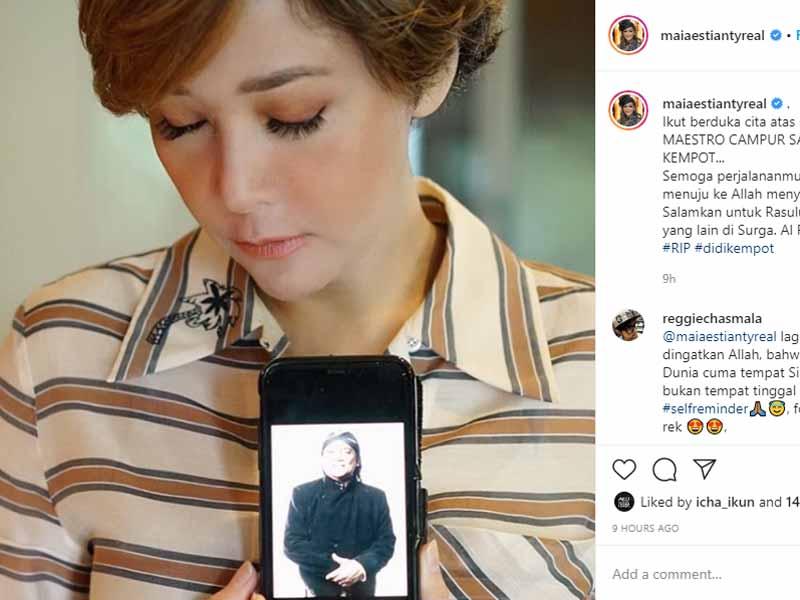 Aktris cantik Maia Estianty mengenang musisi legendaris Didi Kempot. Foto: Instagram/Maiaestiantyreal