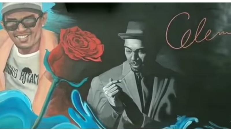 Ambon hadirkan mural yang menampilkan sosok Glenn Fredly, ada juga setangkai mawar merah (foto: Sc IG @uchiepatty)