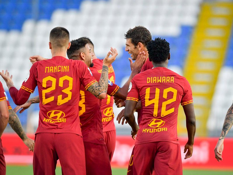 AS Roma tidak menemui kesulitan berarti ketika bertandang ke markas Brescia pada pekan ke-32 Liga Italia 2019-2020. Foto: Twitter/asroma