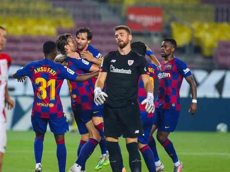 Laga Barcelona vs Athletic Bilbao pada pekan ke-31 Liga Spanyol 2019-2020 menjadi panggung bagi Lionel Messi unjuk gigi. Foto: Twitter/fcbarcelona