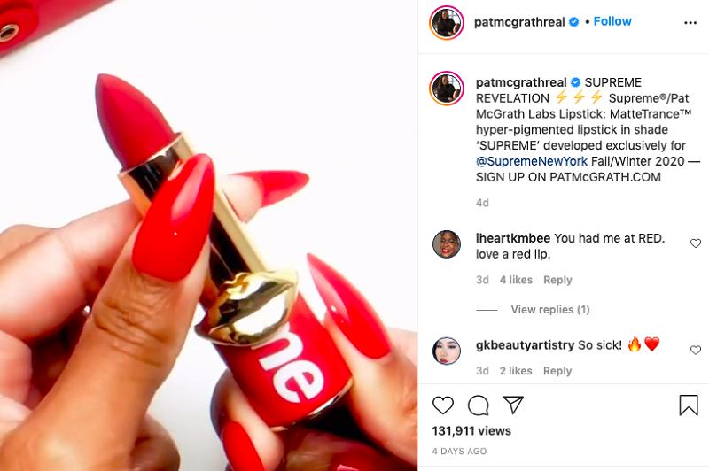Lipstik kolaborasi Supreme dan Pat McGrath (foto: Instagram @patmcgrathreal)