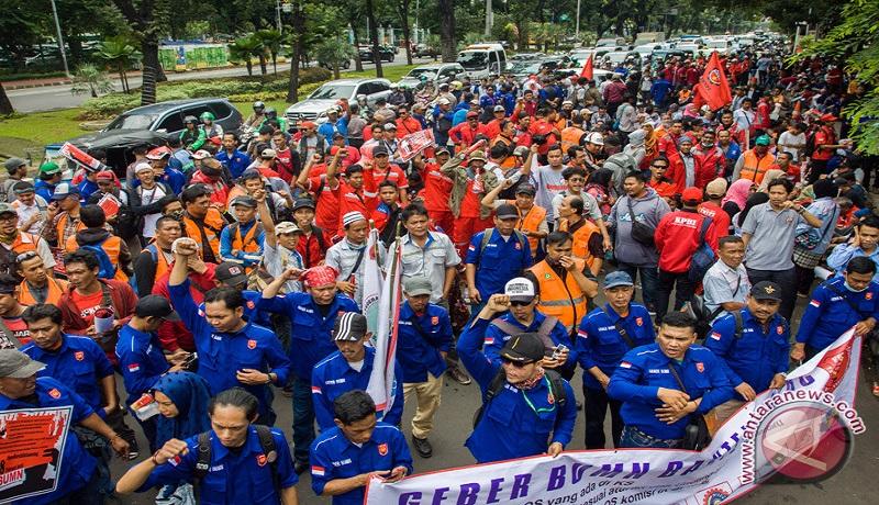 Demo buruh di Jakarta. FOTO: Antara