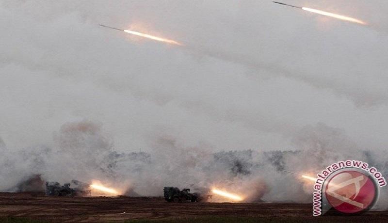 Roket MK-30 buatan Taiwan diluncurkan saat latihan militer tahunan Han Kuang di Penghu. Foto: Antara